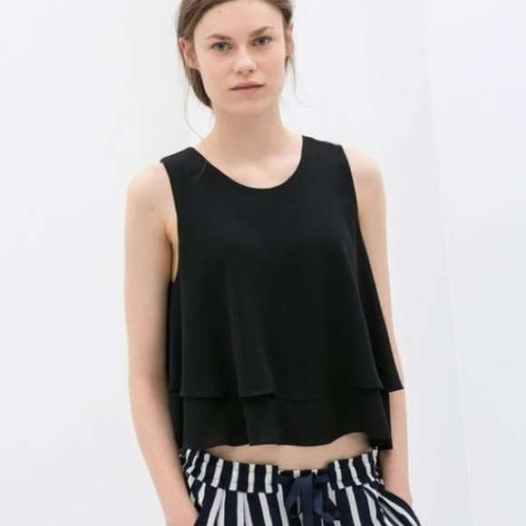 800de3a79e6 ZARA double layered chiffon crop black top size S.  M_5b352e5434a4ef589dde6cc3